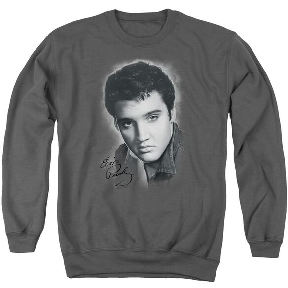 Elvis Grey Portrait Adult Crewneck Sweatshirt