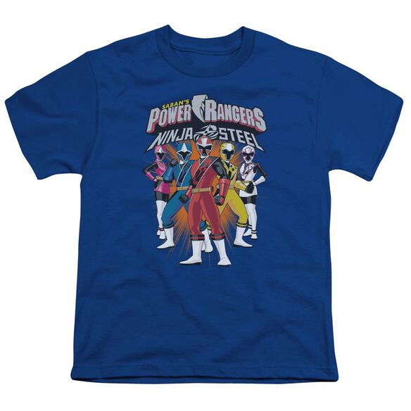 Power Rangers Team Lineup Short Sleeve Youth Royal T-Shirt