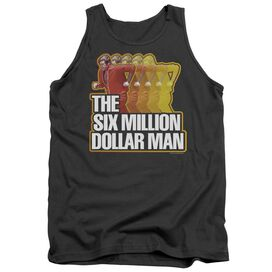 Six Million Dollar Man Run Fast - Adult Tank - Charcoal