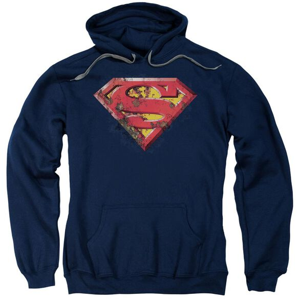 Superman Rusted Shield Adult Pull Over Hoodie