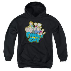 Family Guy Family Fight-youth Pull-over Hoodie - Black