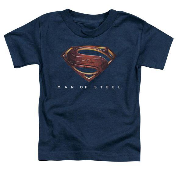 Man Of Steel Mos New Logo Short Sleeve Toddler Tee Navy Md T-Shirt