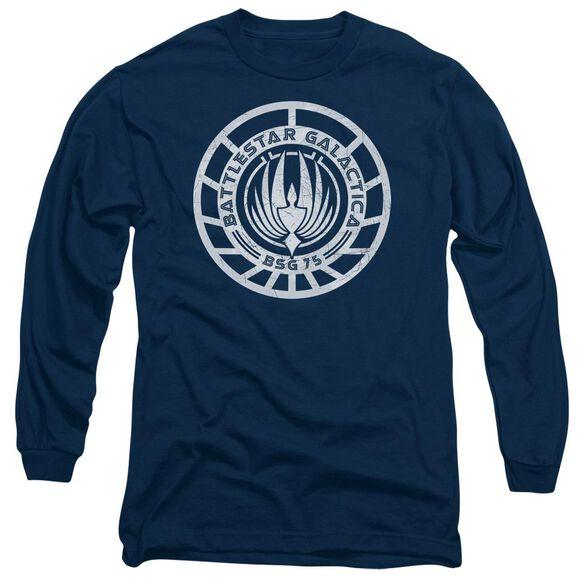 BSG SCRATCHED BSG LOGO - L/S ADULT 18/1 - NAVY T-Shirt
