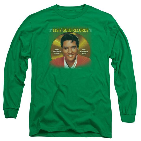 Elvis Presley Gold Records Long Sleeve Adult Kelly T-Shirt