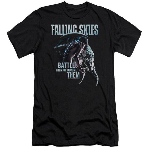Falling Skies Battle Or Become Premuim Canvas Adult Slim Fit
