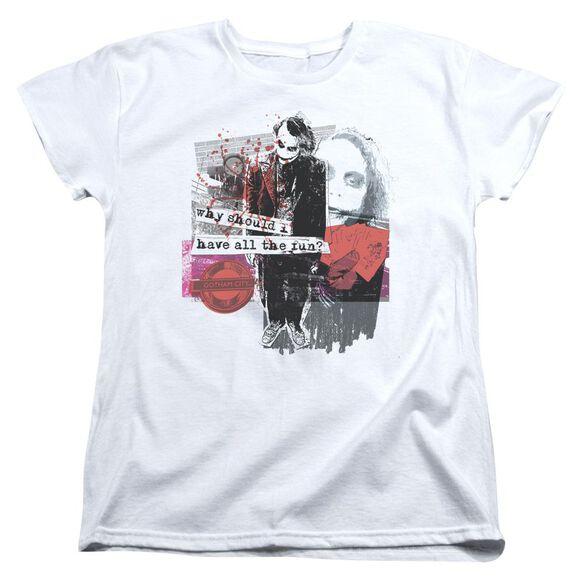 Dark Knight Share The Joy Short Sleeve Womens Tee White T-Shirt