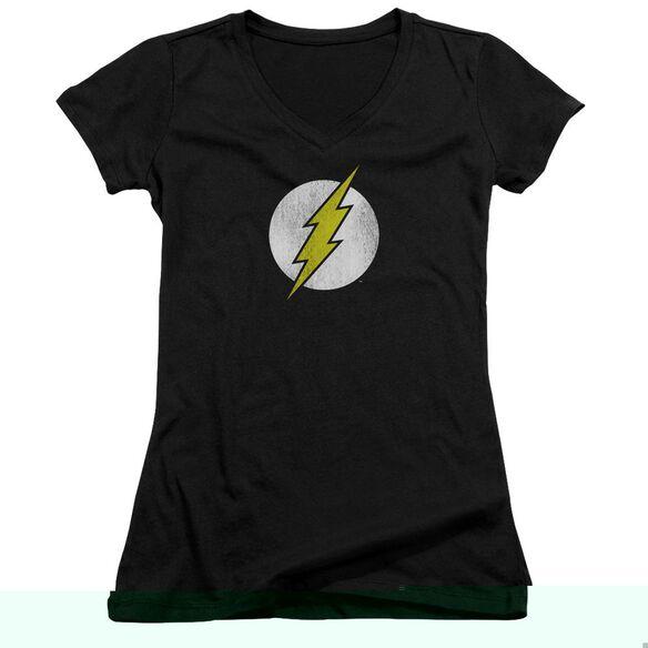 Dc Flash Flash Logo Distressed - Junior V-neck - Black