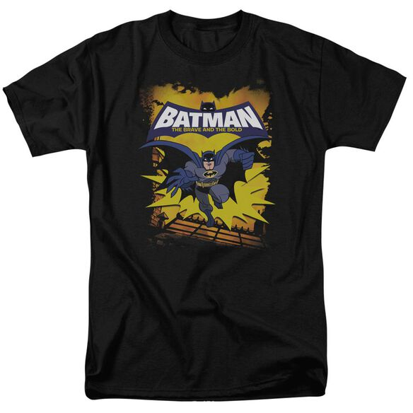 Batman Bb Rooftop Leap Short Sleeve Adult Black T-Shirt