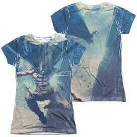 Batman Skyscrapers (Front Back Print) Short Sleeve Junior Poly Crew T-Shirt