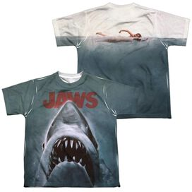 Jaws Poster Short Sleeve Youth Poly Crew T-Shirt