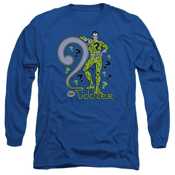 Dc The Riddler Long Sleeve Adult Royal T-Shirt