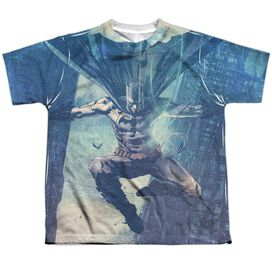 Batman Skyscrapers Short Sleeve Youth Poly Crew T-Shirt