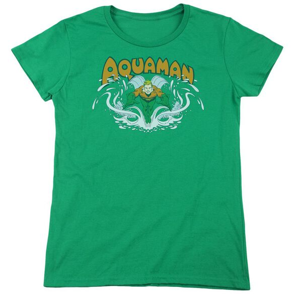 Dc Aquaman Splash Short Sleeve Womens Tee Kelly T-Shirt