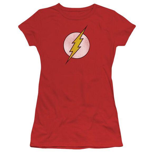 Dc Flash Flash Logo Distressed Short Sleeve Junior Sheer T-Shirt