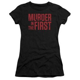 Murder In The Frist Stacked Logo Short Sleeve Junior Sheer T-Shirt