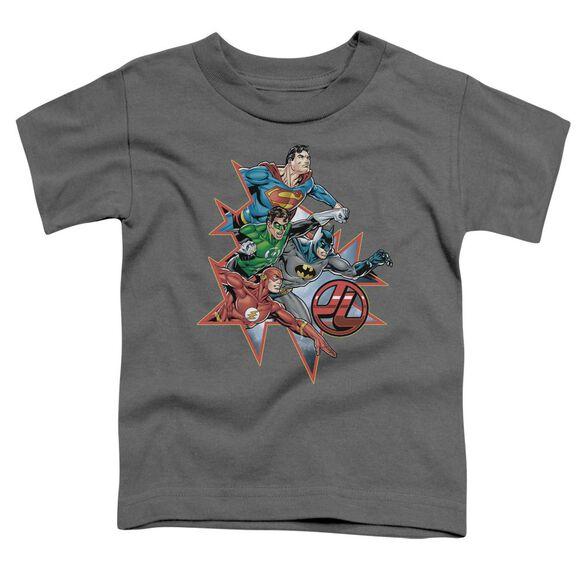 Jla Starburst Short Sleeve Toddler Tee Charcoal Lg T-Shirt