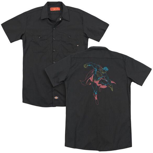 Superman Neon Superman (Back Print) Adult Work Shirt