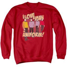 Star Trek Man In Uniform - Adult Crewneck Sweatshirt - Red