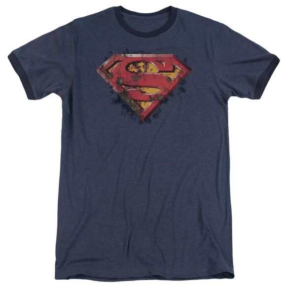 Superman Rusted Shield Adult Heather Ringer Navy