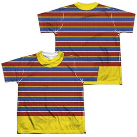Sesame Street Ernie Costume (Front Back Print) Short Sleeve Youth Poly Crew T-Shirt
