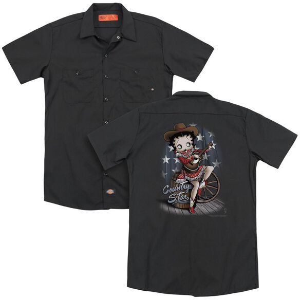 Betty Boop Country Star (Back Print) Adult Work Shirt