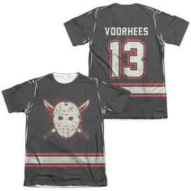 Friday The 13 Th Voorhees Jersey (Front Back Print) Adult Poly Cotton Short Sleeve Tee T-Shirt