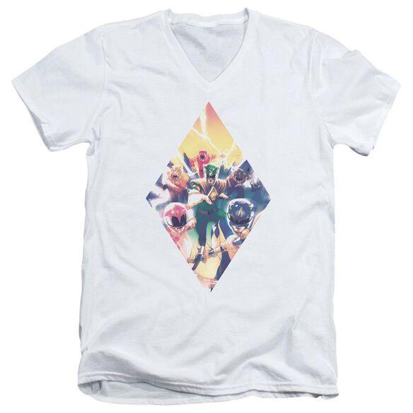 Power Rangers Sdcc Ranger Diamond 1 Short Sleeve Adult V Neck T-Shirt