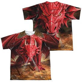 Anne Stokes Dragons Lair (Front Back Print) Short Sleeve Youth Poly Crew T-Shirt
