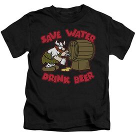 Hagar The Horrible Save Water Drink Beer Short Sleeve Juvenile Black T-Shirt