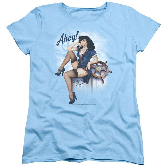 Bettie Page Ahoy Short Sleeve Womens Tee Light T-Shirt