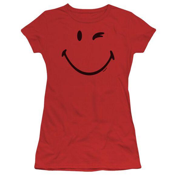 Smiley World Big Wink Short Sleeve Junior Sheer T-Shirt