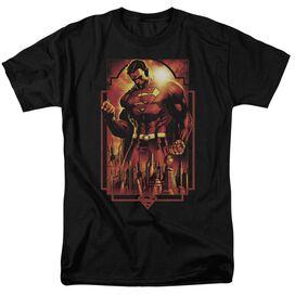 Superman Metropolis Deco Short Sleeve Adult Black T-Shirt