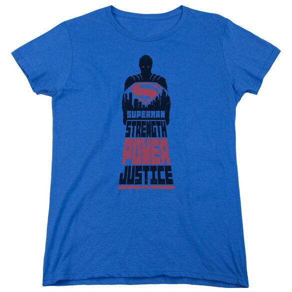 Batman V Superman Super Justice Short Sleeve Womens Tee Royal T-Shirt