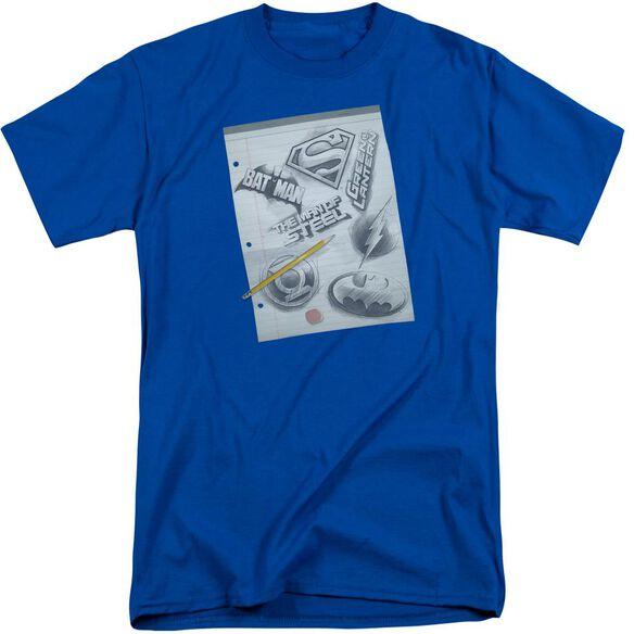 Dc Logo Note Paper Short Sleeve Adult Tall Royal T-Shirt