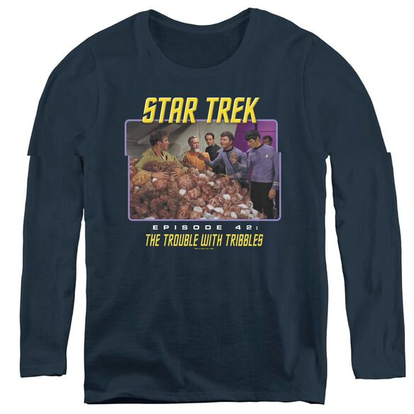 St:original The Trouble With Tribbles - Womens Long Sleeve Tee - Navy
