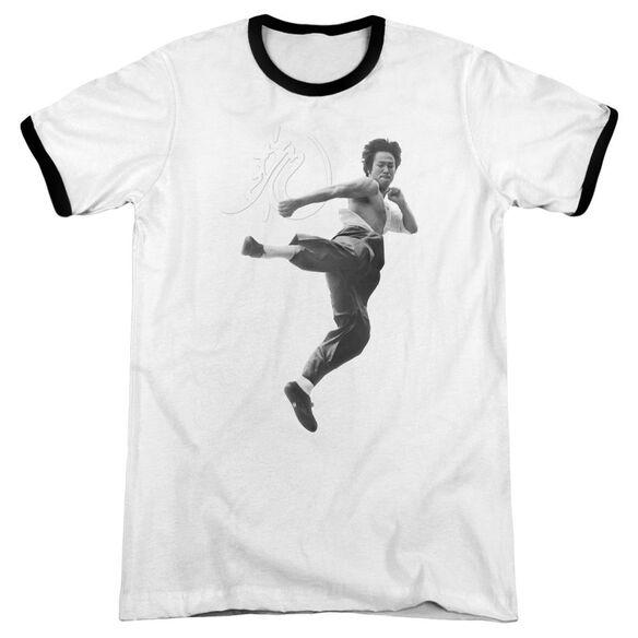 Bruce Lee Flying Kick Adult Ringer White Black