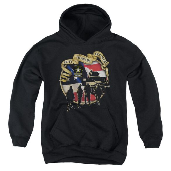 Army Duty Honor Country Youth Pull Over Hoodie