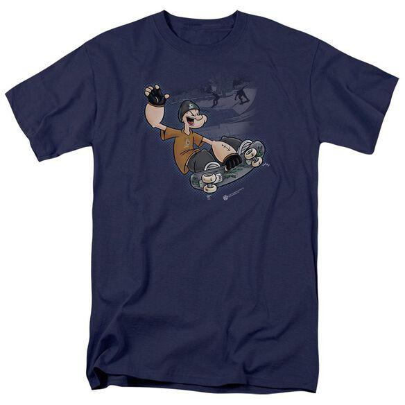 Popeye Sk8 Short Sleeve Adult Navy T-Shirt