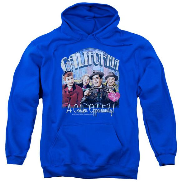I Love Lucy Golden Opportunity Adult Pull Over Hoodie Royal
