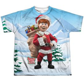 Santa Claus Is Comin To Town Helpers Short Sleeve Youth Poly Crew T-Shirt