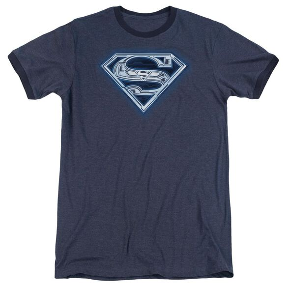 Superman Cyber Shield Adult Heather Ringer Navy