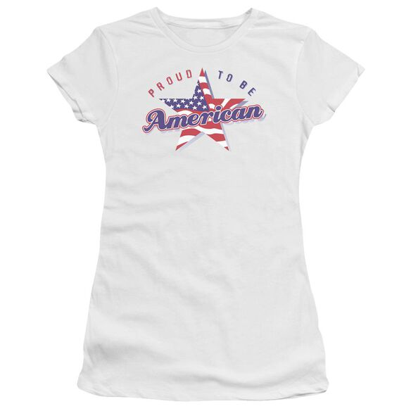 PROUD TO BE AMERICAN - JUNIOR SHEER - WHITE T-Shirt