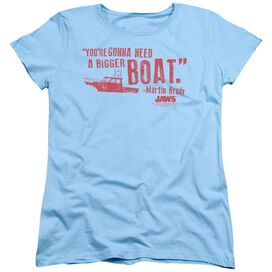 JAWS BIGGER BOAT - S/S WOMENS TEE - LIGHT BLUE T-Shirt