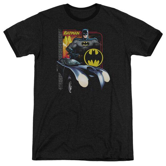 Batman Bat Racing - Adult Heather Ringer - Black