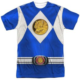 Power Rangers Blue Ranger Emblem Short Sleeve Adult Poly Crew T-Shirt