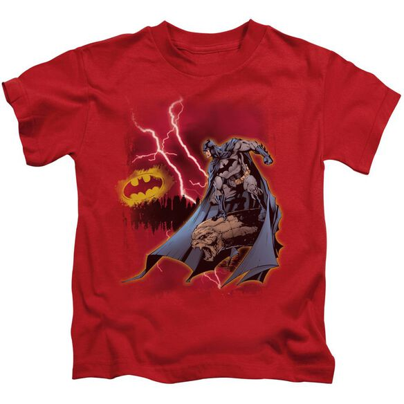 Batman Lightning Strikes Short Sleeve Juvenile Red T-Shirt