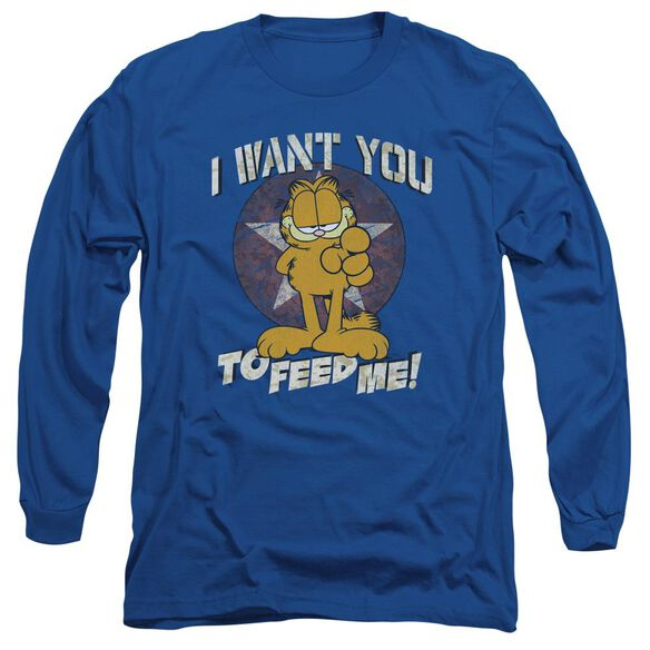 Garfield I Want You Long Sleeve Adult Royal T-Shirt