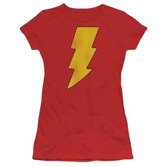 Dc Shazam Logo Distressed Short Sleeve Junior Sheer T-Shirt