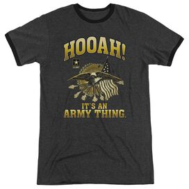 Army Hooah Adult Heather Ringer Charcoal