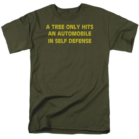 Tree Hits An Automobile Short Sleeve Adult Military Green T-Shirt